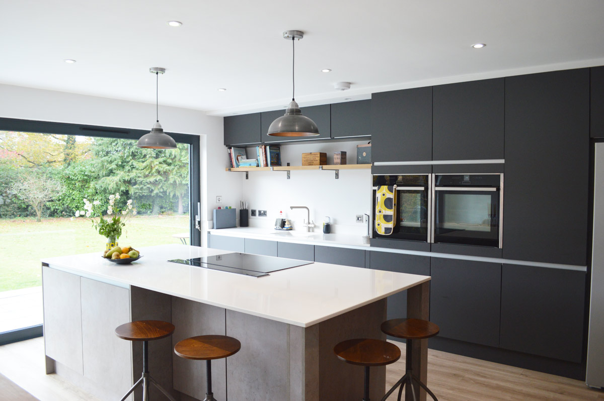 Modern Kitchen Installation in London - Dark Grey Matt and ... on Modern Kitchens  id=56456